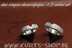 925 gietwerk VR 03 duo ringen lijntjes en half cirkeltje uit