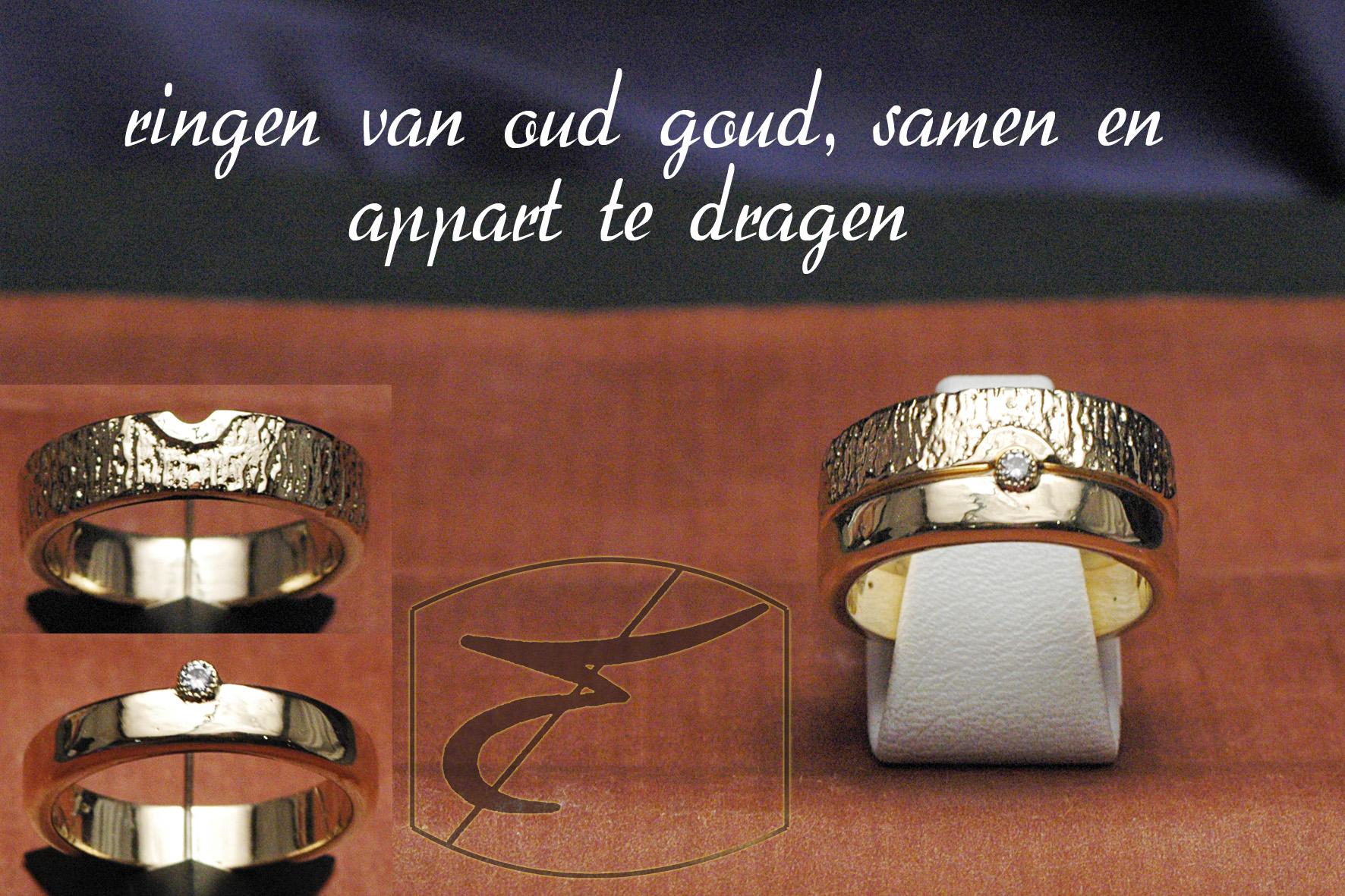 750 oud goud duo ringen dwarslijntjes+effen met steentje (5)