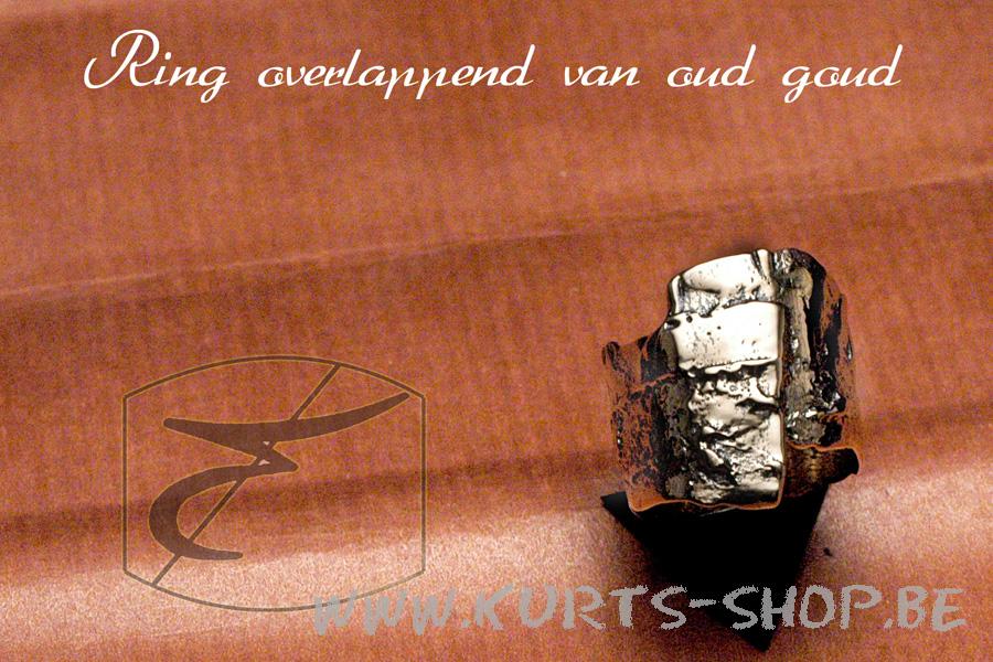 750 oud goud - ring overlappend smal grof
