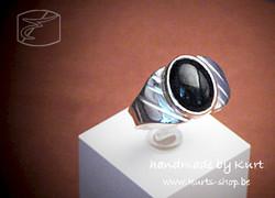 925 ring man zwarte ovaal cab onic 12x9mm 1