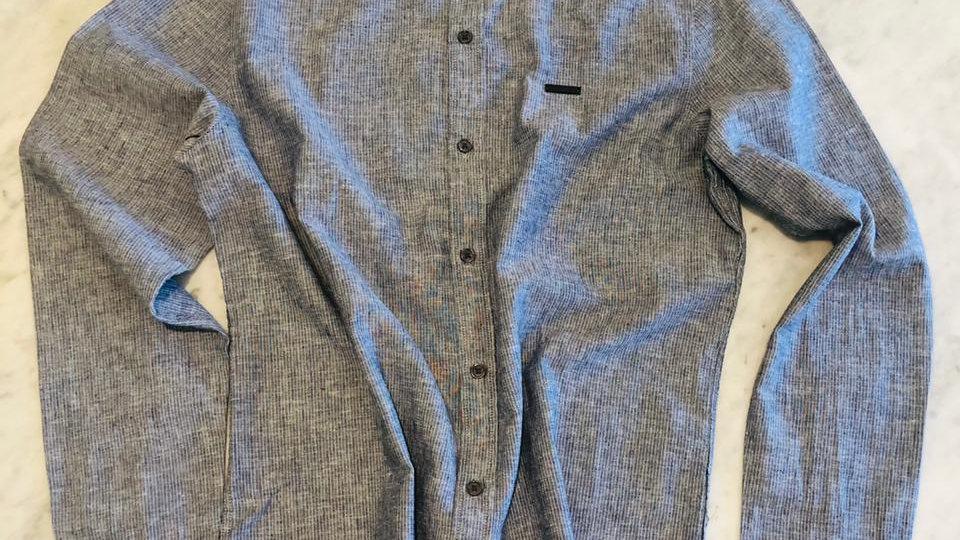Camisa Linho Risca de Giz Blue