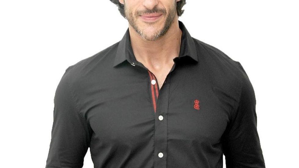 Camisa masculina slim preta
