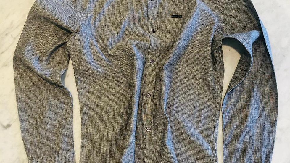 Camisa Linho Risca de Giz Gray