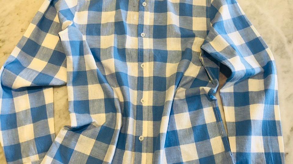 Camisa Linho Gold Chess Blue