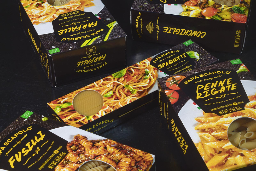 Creative packaging of pasta Papà Scapolo by ZBS BRANDS.