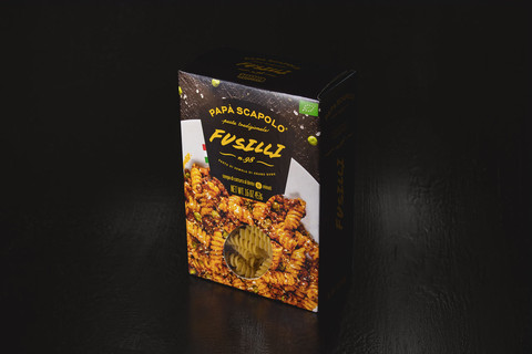 Creative packaging of pasta fusilli Papa Scapolo by ZBS BRANDS.