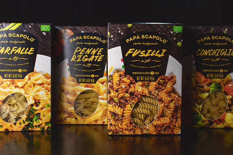 Creative packaging of pasta Papa Scapolo by ZBS BRANDS.