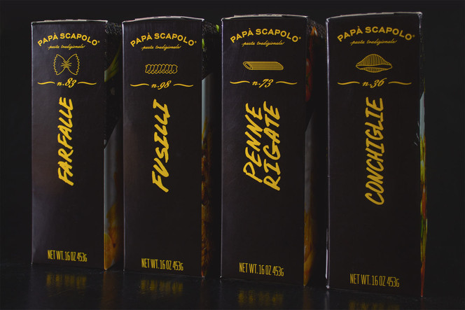 Left side of creative packaging of pasta Papa Scapolo by ZBS BRANDS.
