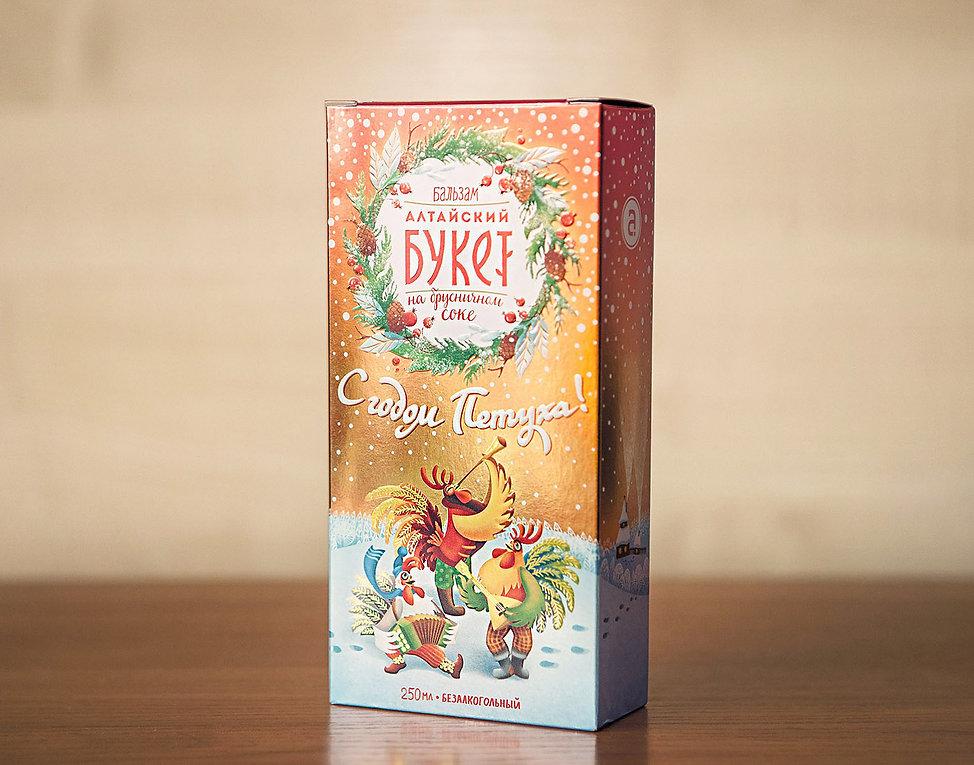 Коробка бальзама Алтайский Букет «С годом Петуха!» в полный рост от брендингового агентства ЗБС БРЭНДС.