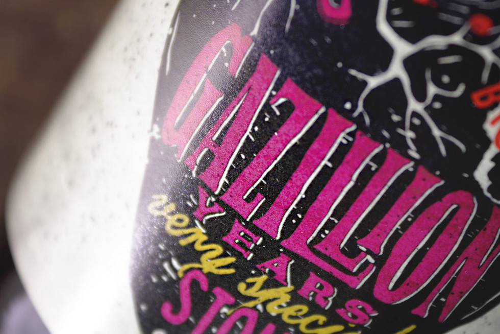 Creative packaging Last Incident Brewing Company beer Gazillion years stout by ZBS BRANDS.