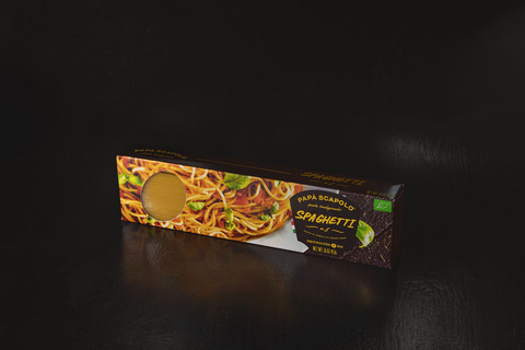 Creative packaging of pasta spaghetti Papa Scapolo by ZBS BRANDS.