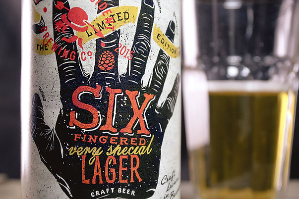 Creative packaging Last Incident Brewing Company beer Six fingered lager by ZBS BRANDS.