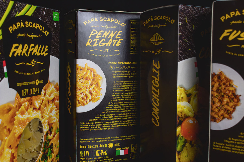 Other side with recipe of packaging of pasta Papa Scapolo by ZBS BRANDS.