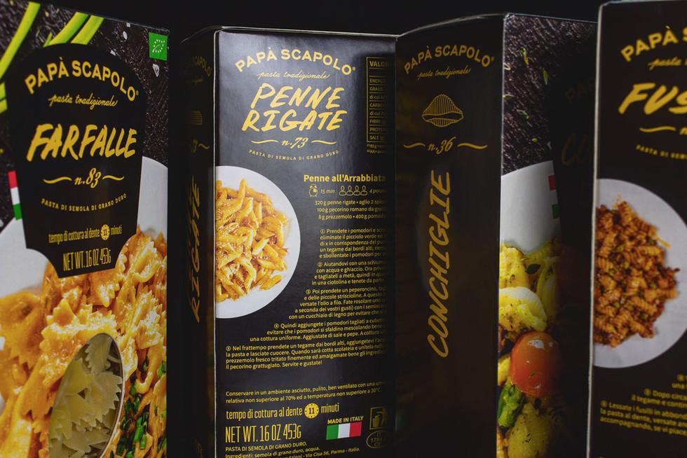Обратная сторона упаковки макарон Papa Scapolo с рецептом от брендингового агентства ЗБС БРЭНДС.