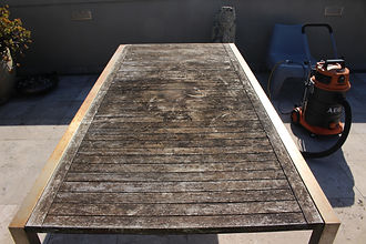 Deck Saver - Teak table before