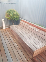 Deck Saver - spotted gum seating before