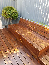 Deck Saver - spotted gum seating after