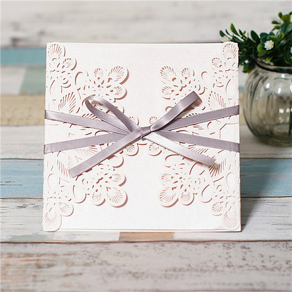 Grey Ribbon Floral | LaserCut