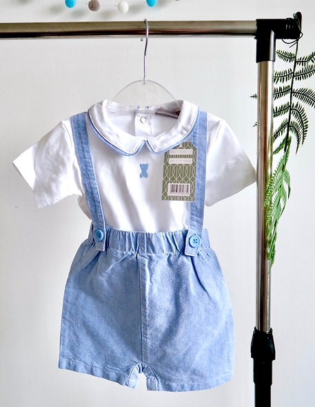 Rockabye-Baby Chambray Set with Teddy Motif