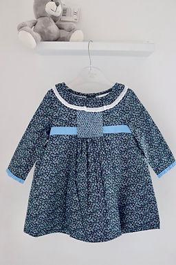 Daisy Smocked Blue Lined Dress