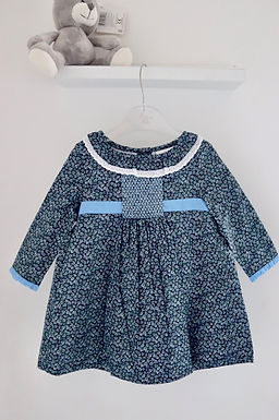 Daisy Smocked Blue Lined Dress