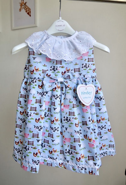 Kinder Boutique Farm Animal Shoulder Cut Dress