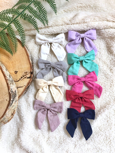 Hand Tied Linen Bow Clips