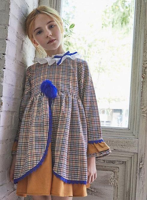 Royal Blue x Mustard Checkered Layered Dress