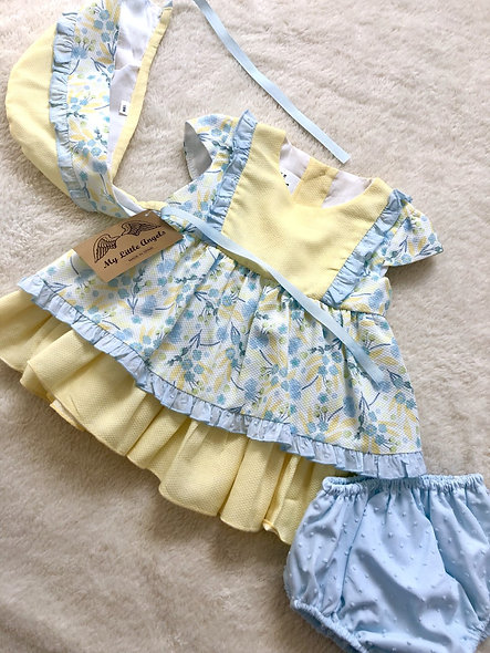 My Little Angels Lemon & Powder Blue Layered Frilly 3 Piece