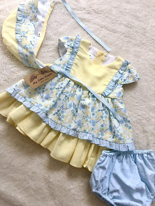 My Little Angels Lemon & Powder Blue Layered Frilly 3 Piece