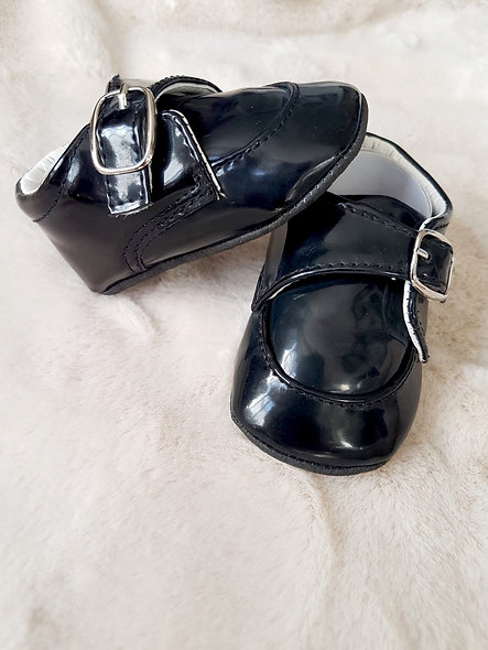 Black PU shoes with buckle