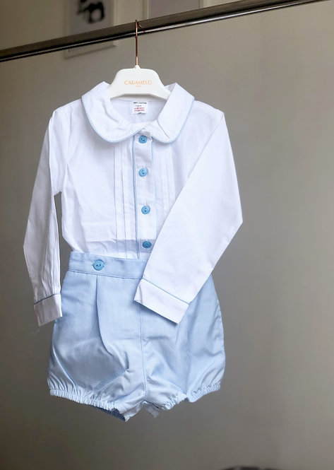 Traditional Baby Blue Pleated Shirt & Striped Shorts Set