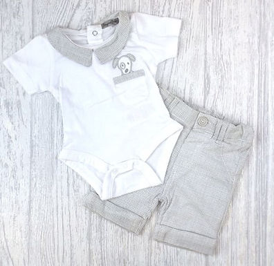 Grey Cord Shorts Set