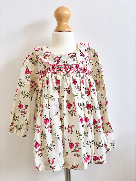 Vintage Style Hand Smocked Pink double print Dress