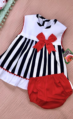 Red and Navy Stripe Dress, with Matching Bloomers