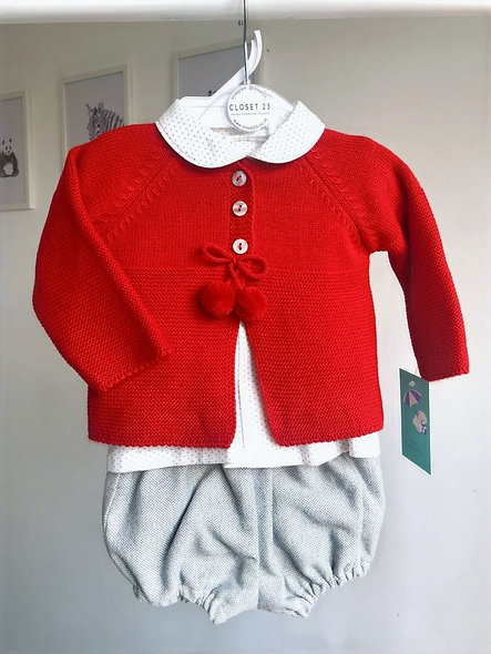 Red Pom Pom Cardigan 3 Piece by Baby Ferr