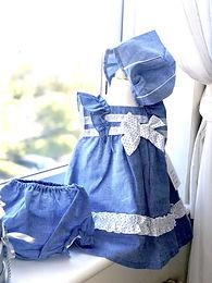 Baby Ferr Denim Blues 3 Piece Dress Set