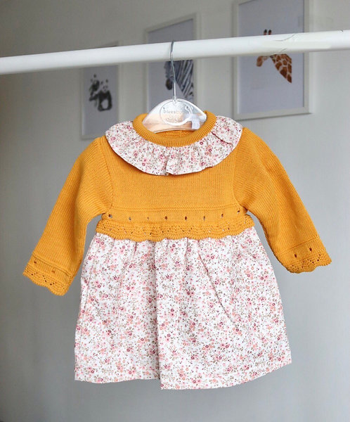 Mustard Floral Frill Knit Dress