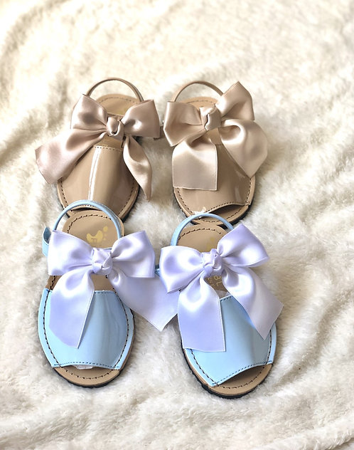 Patent Sandals, Large Satin Bow