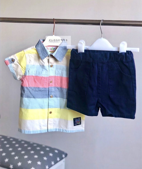 L&J Summer Stripe Shirt and Chino Shorts Set