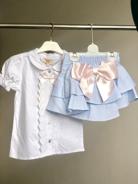 Caramelo Kids Designer Ruffle Skirt & Blouse Set