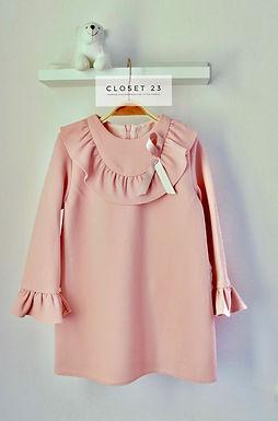 Elegant Salmon Pink Frill Dress- Del Surr