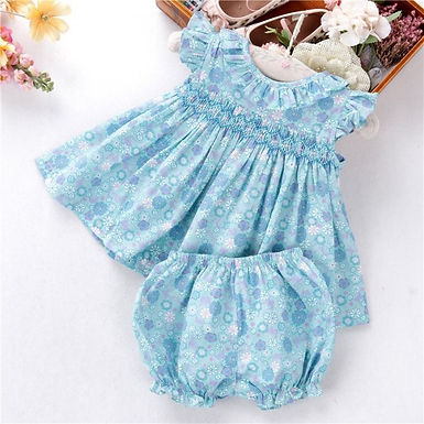 Hand Smocked Blue Print Two Piece