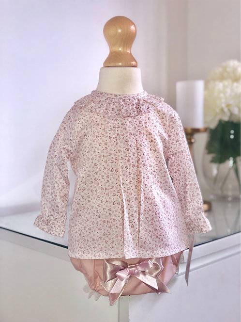 Baby Ferr- Floral Blush Pink Blouse with Puff Double Satin Bow