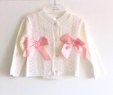 White cardigan with pink double pink satin bows