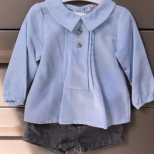 Royal Blue Blouse with Grey Shorts
