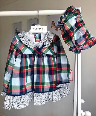 Tartan Mix Frill Dress & Bloomers Set by Del Surr