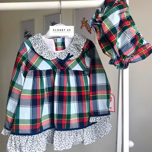 Tartan Mix Frill Dress & Bloomers Set by Del Surr