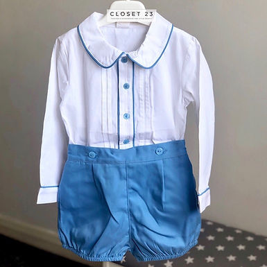 Traditional Pleated Shirt & Shorts Set