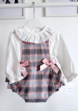 Pink & Grey Tartan Romper with Scallop Frill Collars
